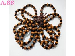 Gelang Tangan Kayu Coklat Hitam Bulatan  /lusin (A-9464)